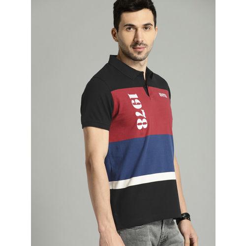 Roadster Men Black & Red Colourblocked Polo Collar T-shirt