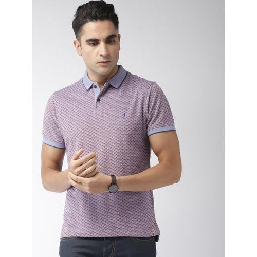 Indian Terrain Men Blue & Orange Printed Polo Collar T-shirt