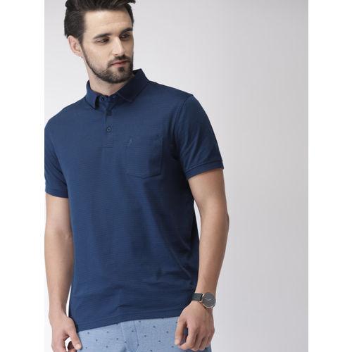 Indian Terrain Men Navy Blue Printed Polo Collar T-shirt
