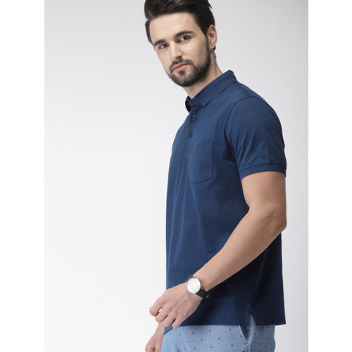 Indian Terrain Men Navy Blue Printed Polo Collar T-shirt