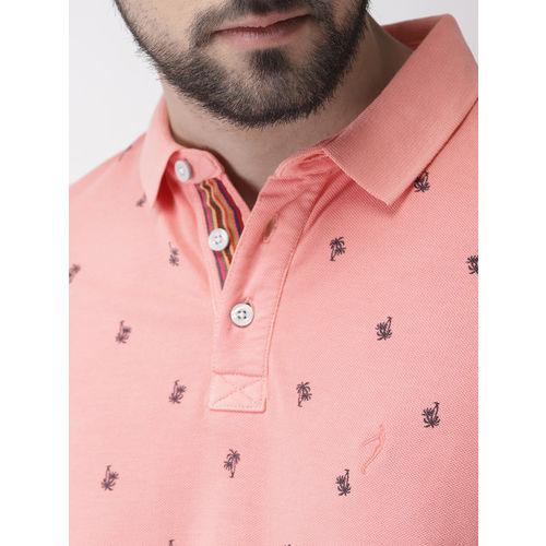 Indian Terrain Men Pink Printed Polo Collar T-shirt