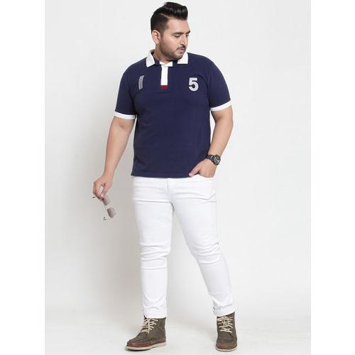 plusS Men Navy Blue Solid Polo Collar T-shirt