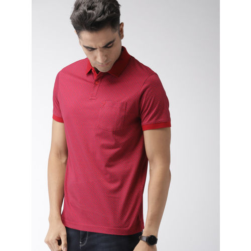 Indian Terrain Men Red & Blue Printed Polo Collar T-shirt