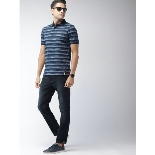 Indian Terrain Men Navy Blue & White Striped Polo Collar T-shirt
