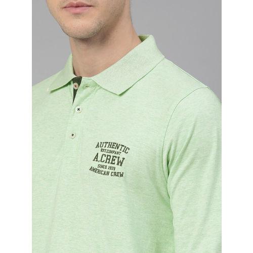 American Crew Men Green Solid Polo Collar T-shirt