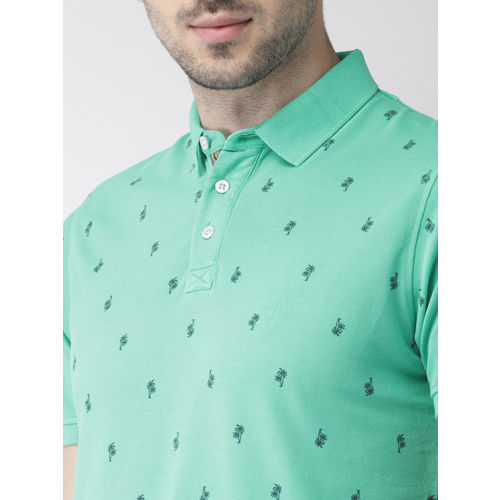 Indian Terrain Men Sea Green Printed Polo Collar T-shirt
