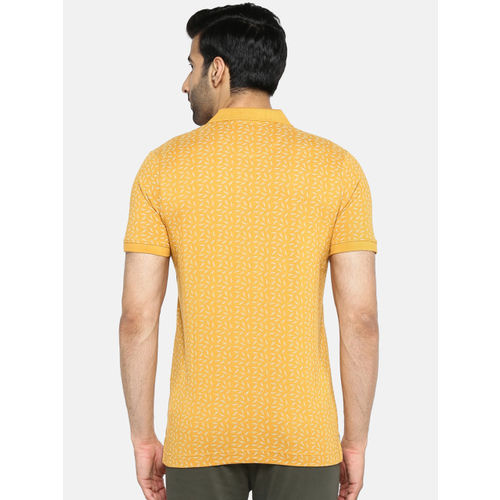 Blackberrys Men Mustard Yellow Printed Polo Collar T-shirt
