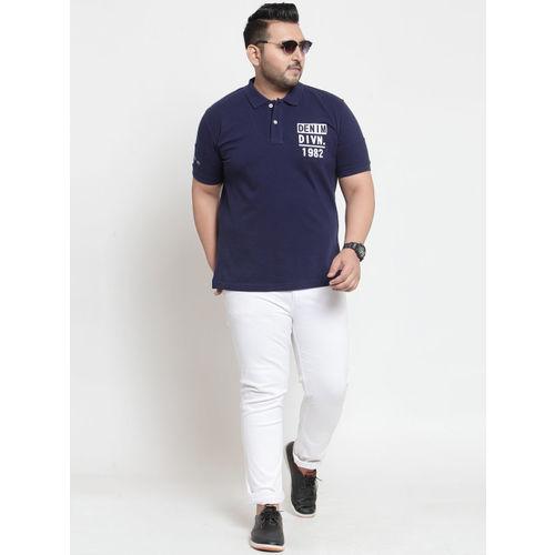 plusS Men Navy Blue Printed Polo Collar T-shirt