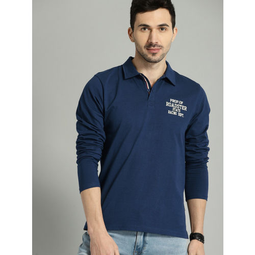 Roadster Men Blue Solid Polo T-shirt