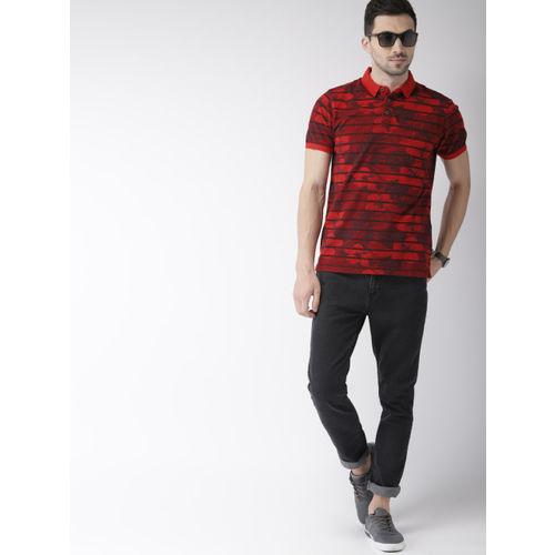Indian Terrain Men Red & Black Printed Polo Collar T-shirt