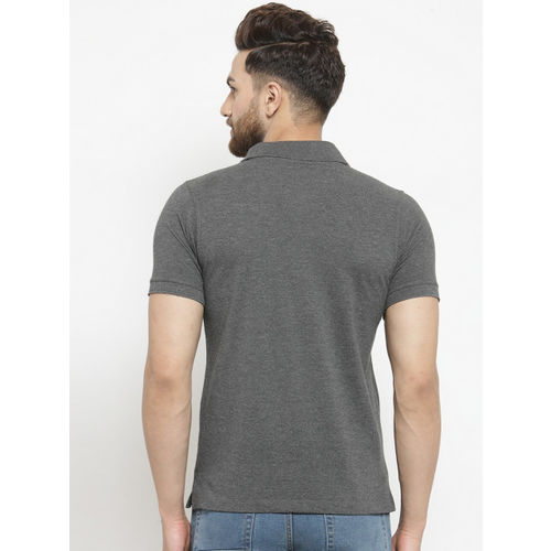 Kalt Men Grey Melange Solid Polo Collar T-shirt