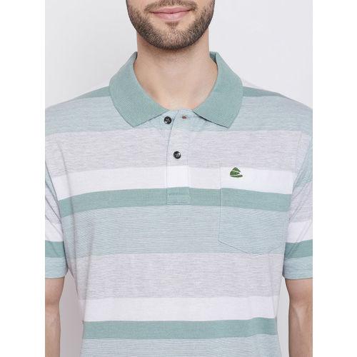 Duke Men Sea Green & White Striped Polo Collar T-shirt