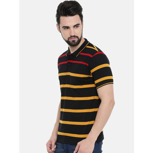 IMYOUNG Men Black Striped Polo Collar T-shirt