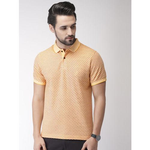 Indian Terrain Men Yellow Printed Polo Collar T-shirt
