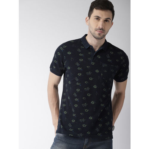 Indian Terrain Men Navy Blue & Green Printed Polo Collar T-shirt