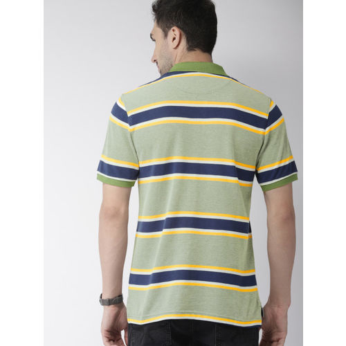 Indian Terrain Men Olive Green & Navy Blue Striped Polo Collar T-shirt
