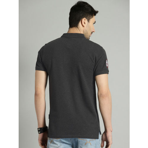 Roadster Men Charcoal Grey Solid Polo Collar T-shirt