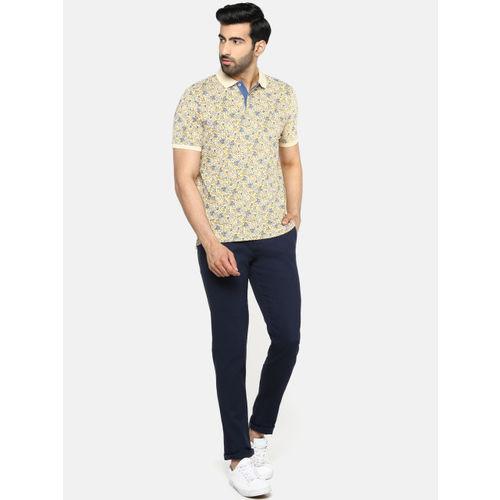 Blackberrys Men Cream-Coloured & Blue Printed Polo Collar T-shirt