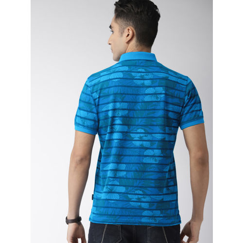 Indian Terrain Men Blue Printed Polo Collar T-shirt
