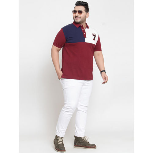 plusS Men Maroon Colourblocked Polo Collar T-shirt