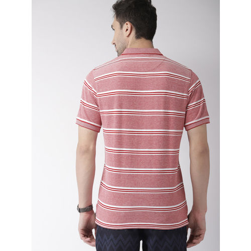 Indian Terrain Men Red Striped Polo Collar T-shirt