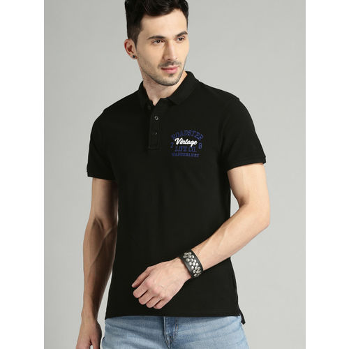 Roadster Men Black Solid Polo Collar T-shirt