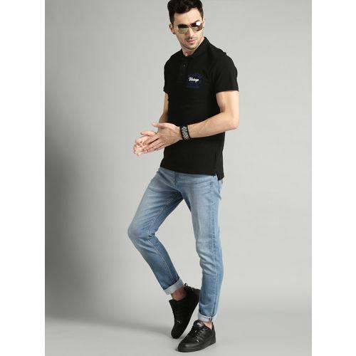 Roadster Men Black Solid Polo Collar T-shirt