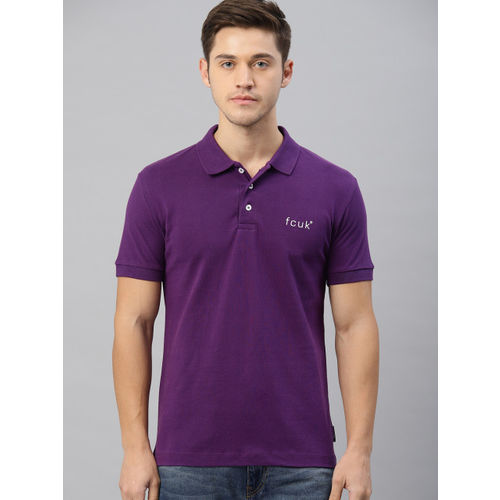 French Connection Men Purple Solid Polo Collar T-shirt