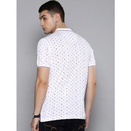 Louis Philippe Sport Men White Slim Fit Printed Polo Collar T-shirt