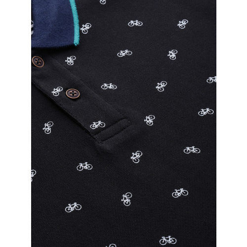 Mast & Harbour Men Black Printed Polo Collar T-shirt