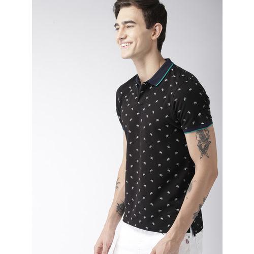 Mast & Harbour Men Black Printed Polo Collar T-shirt