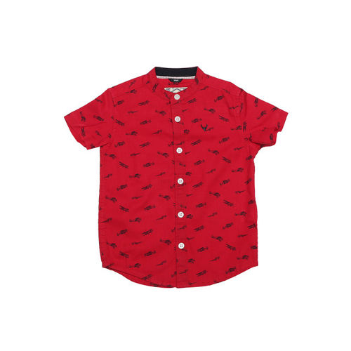 Allen Solly Junior Boys Red Regular Fit Printed Casual Shirt