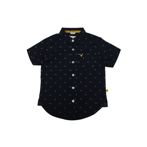 Allen Solly Junior Boys Black Regular Fit Printed Casual Shirt