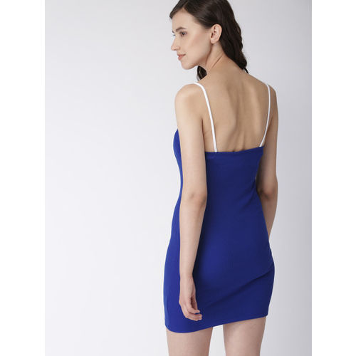 FOREVER 21 Women Blue Solid Knitted Bodycon Dress