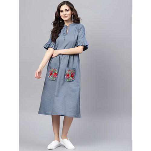 Bhama Couture Women Blue Solid Denim Fit & Flare Dress