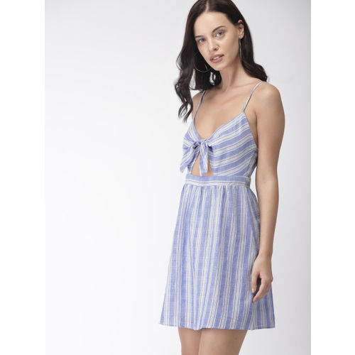 FOREVER 21 Women Blue & White Striped A-Line Dress