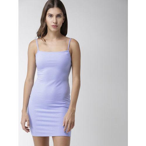 FOREVER 21 Women Blue Self Design Bodycon Dress