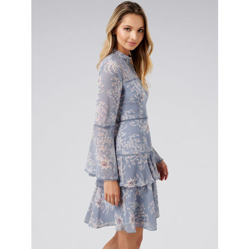 Forever New Women Blue Printed A-Line Dress