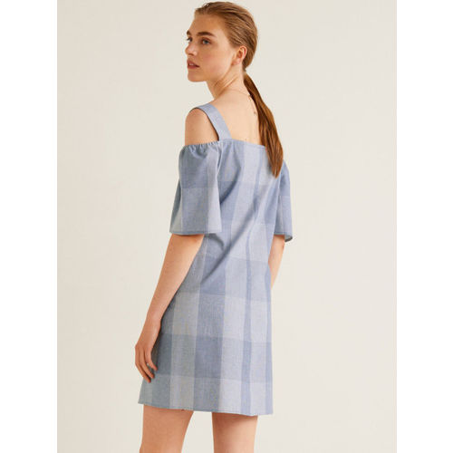 MANGO Women Blue Checked A-Line Dress