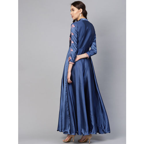 Inddus Women Blue Embroidered Detail Maxi Dress