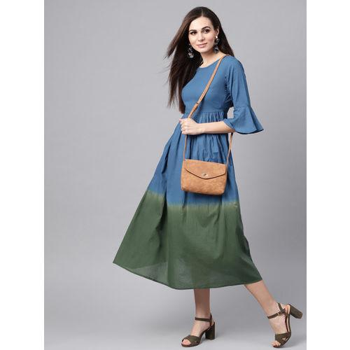 SASSAFRAS Women Blue & Green Ombre Dyed A-Line Dress