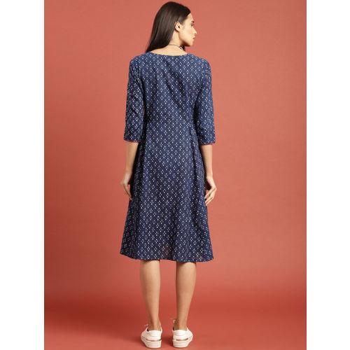 Taavi Women Blue Indigo Hand Block Print A-Line Dress with Pocket Detail