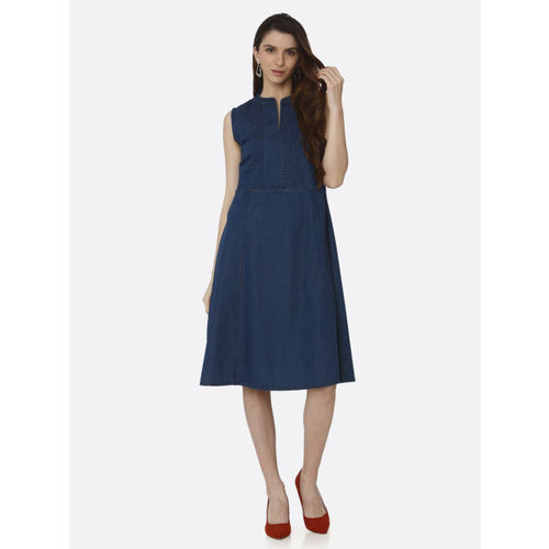 RAISIN Women Blue Solid Fit and Flare Dress