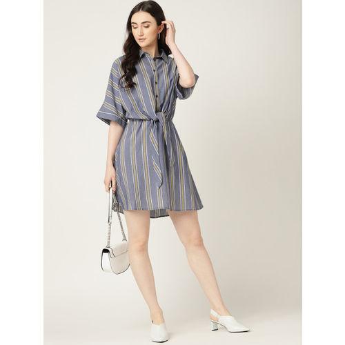MANGO Women Blue & White Striped Shirt Dress