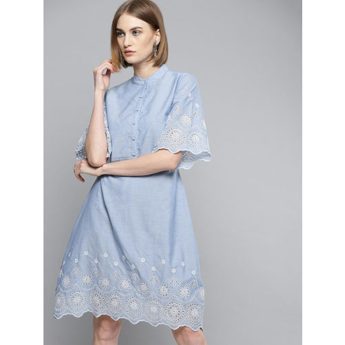 Marie Claire Women Blue Solid A-Line Dress