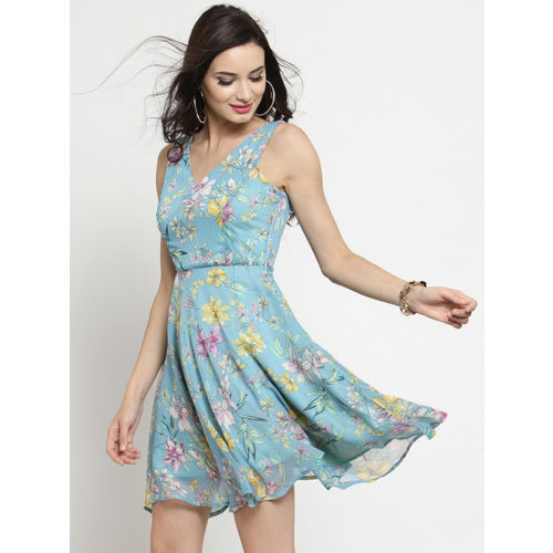 Sera Women Blue Printed Fit and Flare Dress