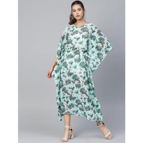 Athena Women Blue & White Printed Kaftan Dress