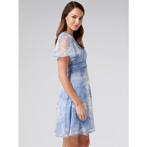 Forever New Women Blue Self Design Fit and Flare Dress