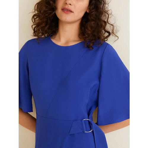 MANGO Women Blue Solid A-Line Dress