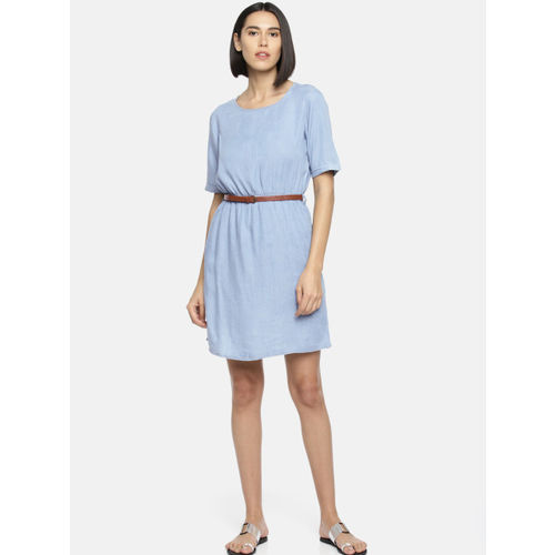 Fame Forever by Lifestyle Blue Solid Chambray Fit & Flare Dress